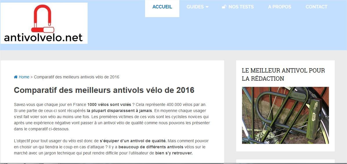 la page d'accueil du site antivolvelo.net